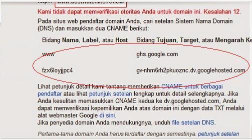 kesalahan 12 custom domain blogspot