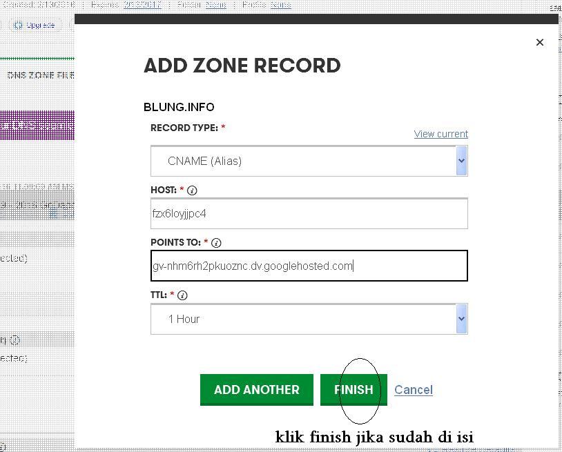 klik finish custom domain blogspot