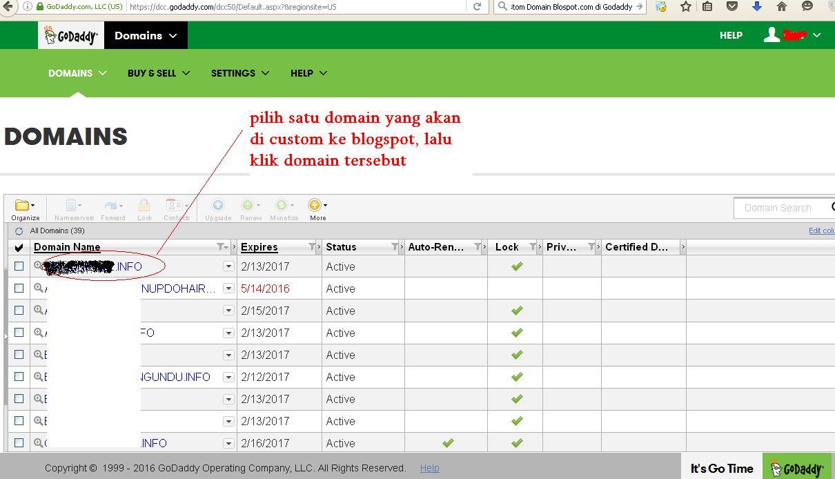 pilih satu domain yang akan di custom ke blogspot