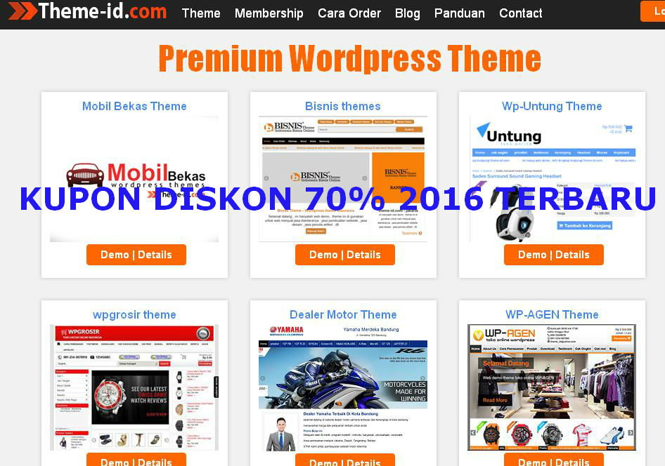 Theme-id Premium wordpress theme kupon diskon 70