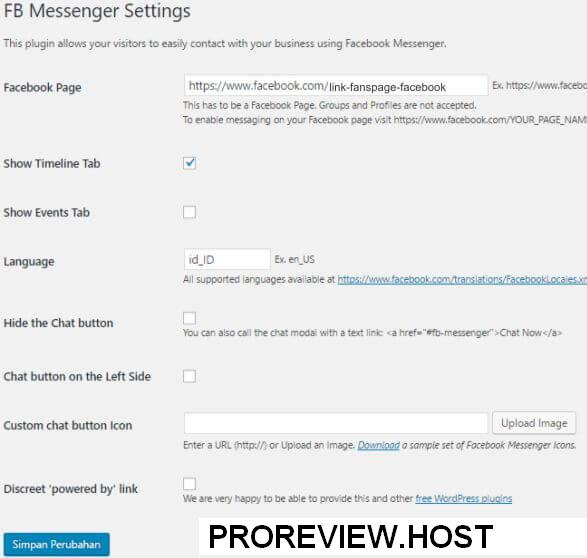 Contoh dengan Plugin Facebook Messenger for WordPress