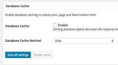 Database Cache setting