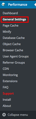 General setting W3 Total Cache
