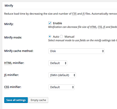 Minify setting ->