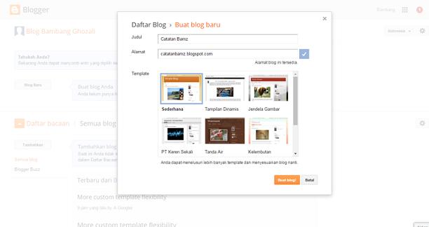 mudah membuat blog dengan blogspot