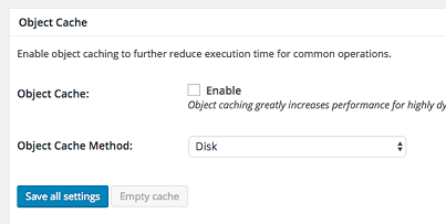 Object Cache setting