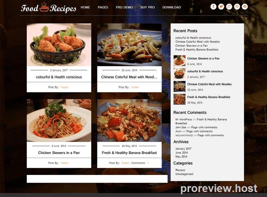 Responsive Theme WP Untuk Blog Resep Gratis