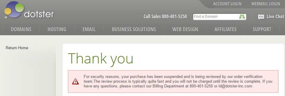 pesan error saat membeli domain dotster