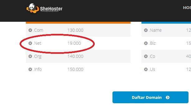 promo domain NET murah shehoster