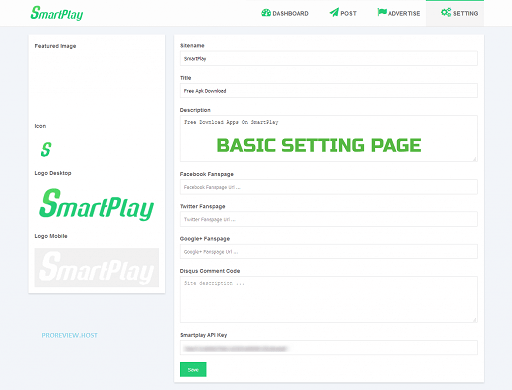 Smartplay Basic Setting Panel
