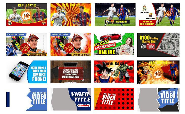 200+ Paket thumbnail Youtube siap edit dan pakai